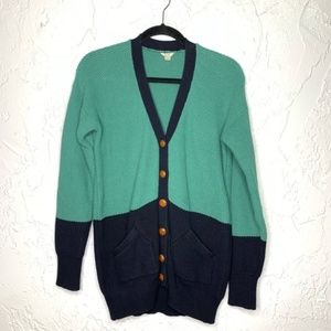 Fossil Colorblock Green Blue Button Cardigan